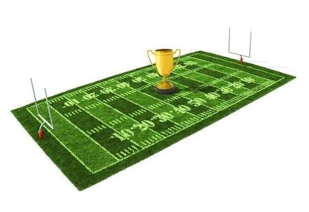 American football field isolated on white background with the golden trophy on the center  photo