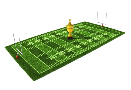 gridiron: American football field isolated on white background with the golden trophy on the center