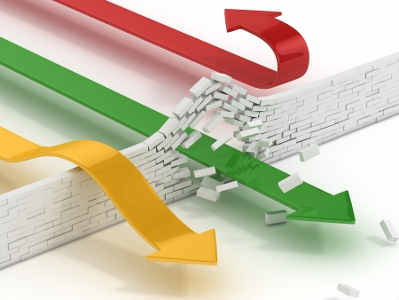 obstacle course: arrows breaking or passing brick wall abstract 3d illustration - power solution 3d concept - success concept