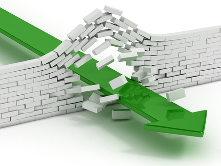 obstacle course: arrow breaking brick wall abstract 3d illustration - power solution 3d concept - infiltration - success metaphor