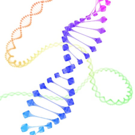 raytrace: colorful DNA on white background