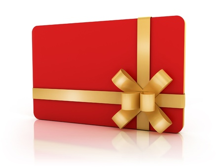 red gift card with golden ribbon  photo