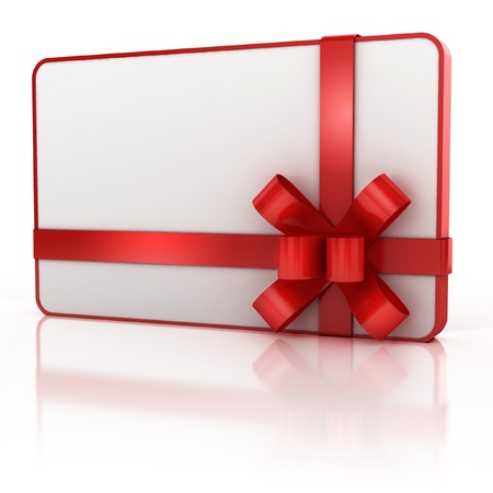 white  gift card with red ribbon