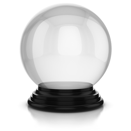 3d ball: empty crystal ball isolated over white background