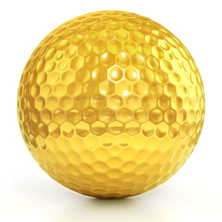 golf ball on tee: golden golf ball isolated over white background