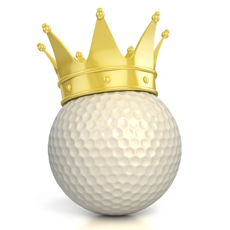 golf ball with golden crown isolated over white background  photo