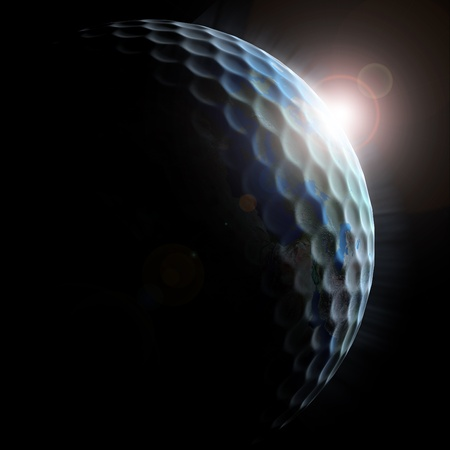golfball: golf planet - golf ball textured planet with sun rising