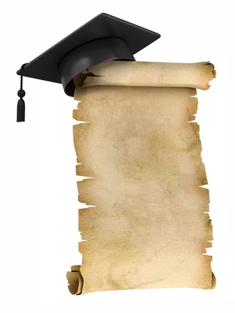 master degree: Graduation Cap on the top of old parchment - certificate or diploma template