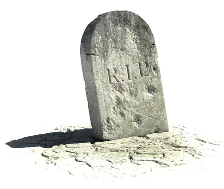 3d scary: gravestone on the white background  Stock Photo