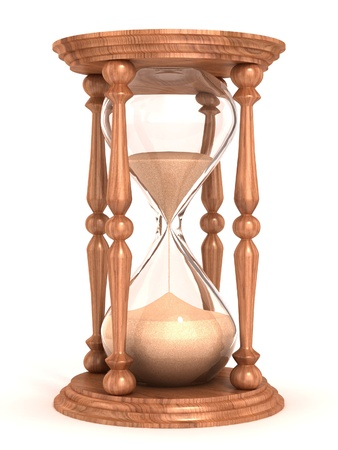 hour glass: hourglass, sandglass, sand timer, sand clock isolated on the white background 3d illustration