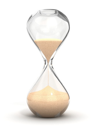 sands of time: hourglass, sandglass, sand timer, sand clock isolated on the white background 3d illustration