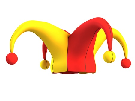 jokes: jester hat isolated on white