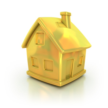real estate icon: golden house 3d icon