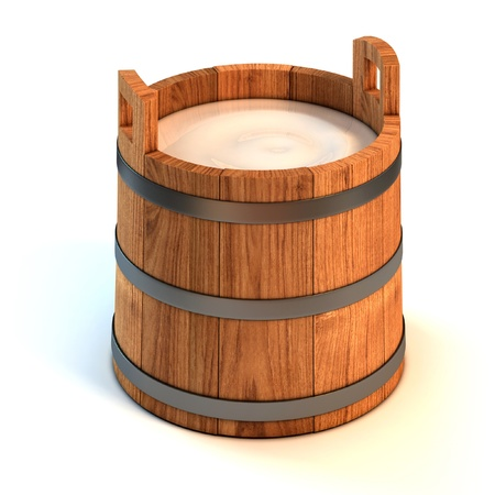 milk pail: milk wooden bucket 3d illustration  Stock Photo