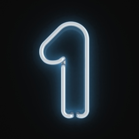 neon sign: neon font number one