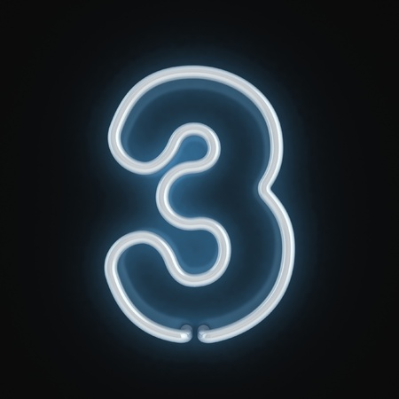 number three: neon font number three