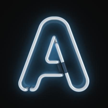fluorescent tubes: neon font letter a