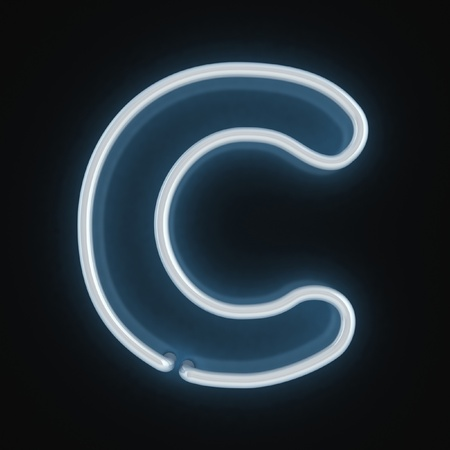 neon letter: neon font letter c  Stock Photo