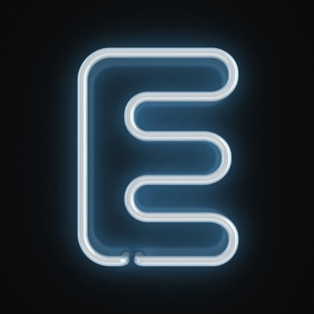 fluorescent tubes: neon font letter e