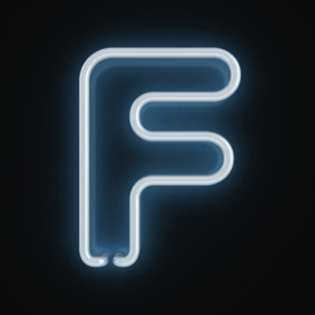 neon letter: neon font letter f