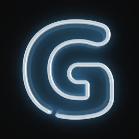 fluorescent tubes: neon font letter g