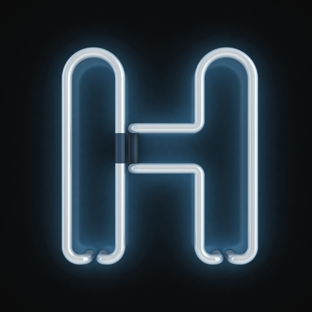 neon letters: neon font letter h  Stock Photo