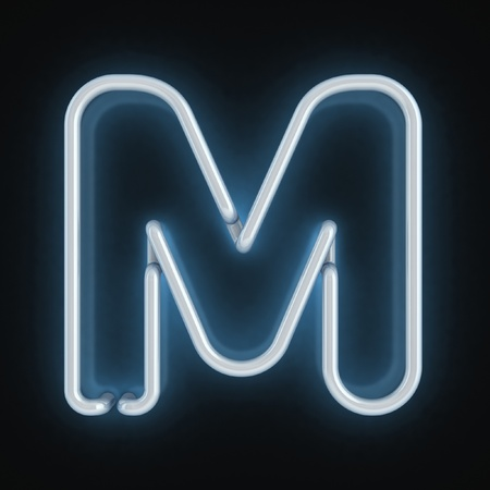 fluorescent tube: neon font letter m  Stock Photo