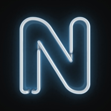 neon sign: neon font letter n