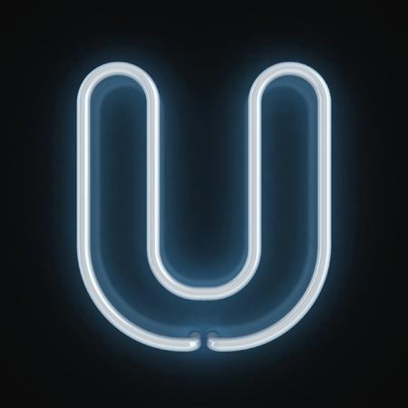 neon background: neon font letter u