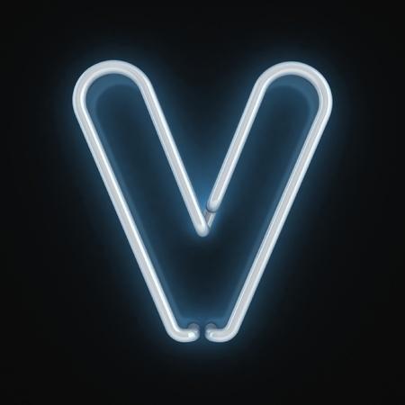 letter v: neon font letter v  Stock Photo
