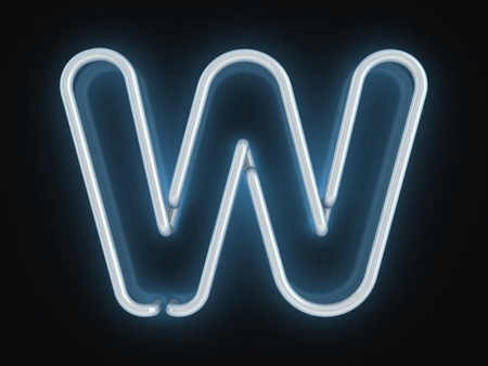 neon sign: neon font letter w