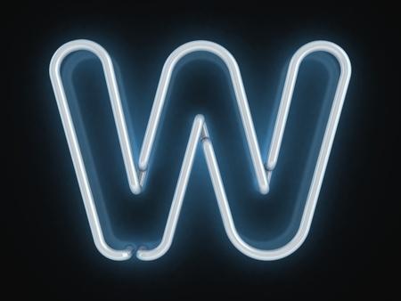 letter w: neon font letter w