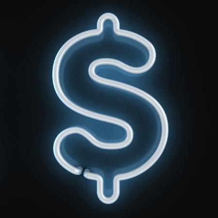 signo pesos: luz de ne�n de la fuente del d�lar sim
