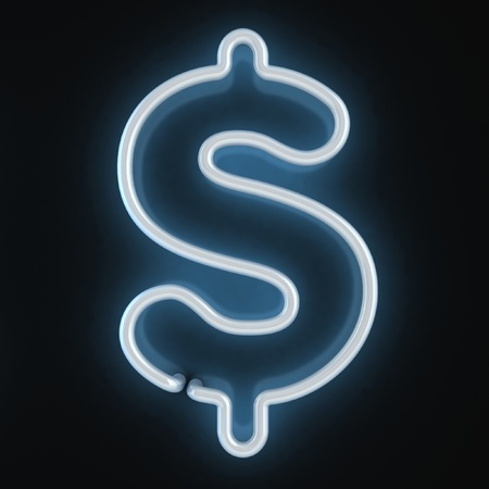 fluorescent tube: neon light font dollar symbo