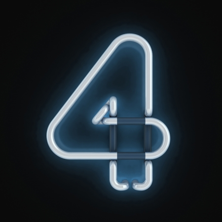 number four: neon light font number four
