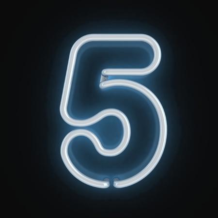fluorescent tubes: neon light font number five