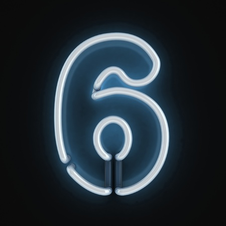 neon light font number six  photo