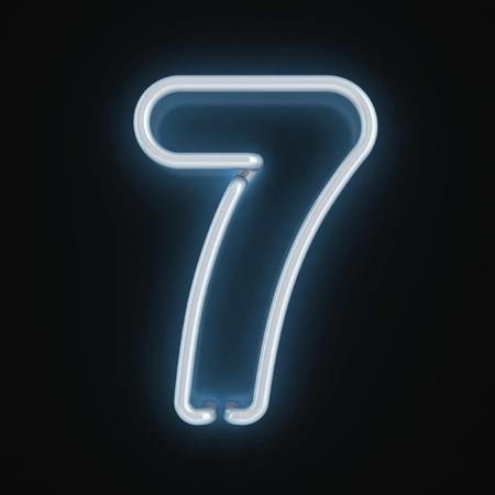 number seven: neon light font number seven