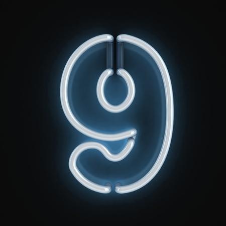 numero nueve: número de fuentes de luz de neón nueve