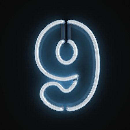 neon light font number nine Stock Photo - 12557693