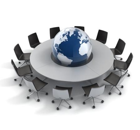 n�gocier: politique mondiale, la diplomatie, la strat�gie, l'environnement, le leadership mondial 3d concept