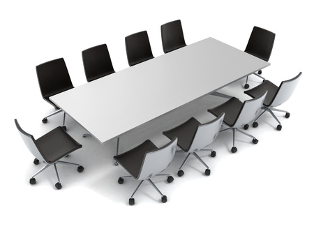 boardroom meeting: conference table isolated on white background