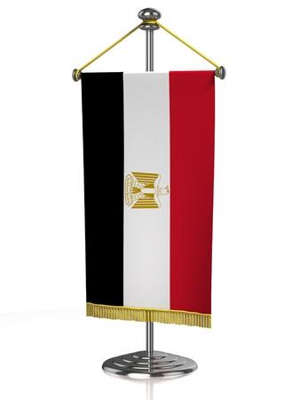 bandera de egipto: Bandera de mesa de Egipto, aislado en blanco