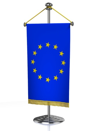 Europena Union table flag isolated on white  photo