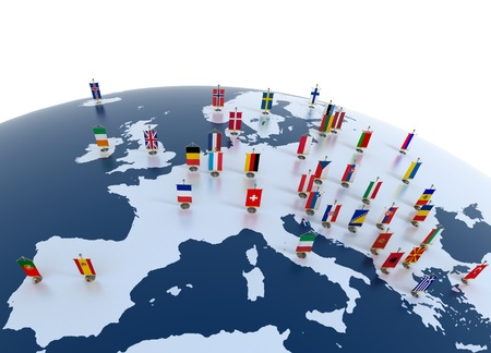 geography of europe: european countries 3d illustration - european continent marked with flags