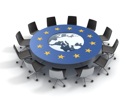 council: european union round table - EU meeting, conference, chamber, assembly 3d concept  Stock Photo