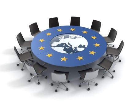 europeans: unione europea tavola rotonda - riunione della UE, conferenze, camera, montaggio concetto 3d