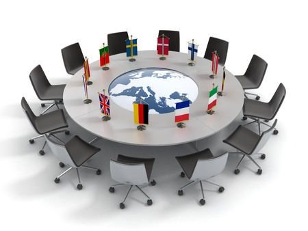 european union round table - EU meeting, conference 3d concept  photo