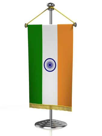 Indian table flag isolated on white  photo