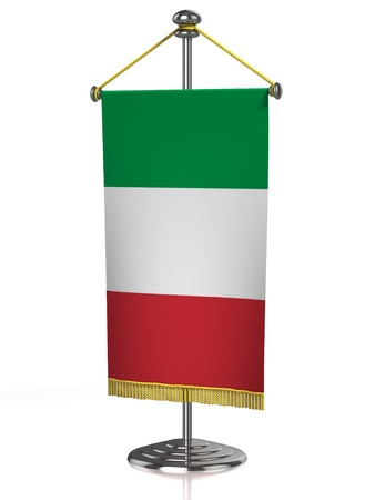 italian politics: Italian table flag isolated on white